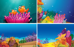 Underwater scenes. Illustration of four scenes of underwater Royalty Free Stock Photos
