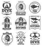 Underwater scuba diving club vector vintage emblems and labels. Sport freediving label, illustration of diving scuba club Stock Photography