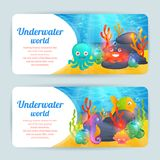 Underwater sea animals horizontal banners set. Underwater tropical exotic sea animals horizontal banners set with crab corals and octopus abstract isolated Royalty Free Stock Image