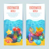 Underwater sea animals vertical banners set. Tropical oceanarium funny sea animals vertical banners set with crab seaweeds and starfish abstract isolated vector Stock Photo