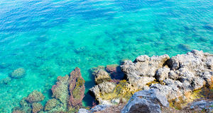 Underwater sea background. Blue transparent turquoise water. Royalty Free Stock Photos