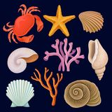 Underwater sea creatures set, crab, starfich, seashell, coral vector Illustrations on a dark blue background. Underwater sea creatures set, crab, starfich Stock Images