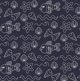 Underwater  sea doodles seamless vector pattern Royalty Free Stock Images