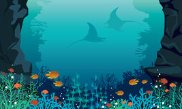 Underwater sea - fish, stingray, coral reef. Underwater sea with colorful coral reef, fishes and silhouette of two stingrays. Vector tropical seascape Royalty Free Stock Image