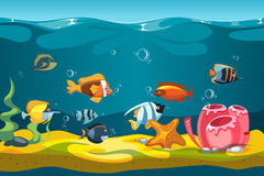 Underwater sea with fishes and rocks vector background for mobile phone game. Interface game with character colored fish illustration Royalty Free Stock Photo