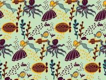 Underwater sea life animal color seamless pattern. Stock Photo