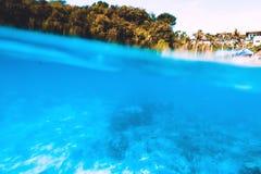 Underwater sea life in blue ocean. Indonesia, Bali. Tropical wildlife with corals underwater. Sea life in Indian ocean Stock Images