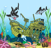 Underwater sea life. The illustration shows the skeleton of a sunken ancient ship. Ship lies on the ocean floor, around floating sharks and seaweed. Illustration Stock Photography