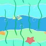 Underwater sea life seamless pattern, hand drawn vector illustration Royalty Free Stock Photo