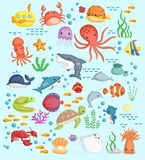 Underwater sea life vector set. A vector set of many type of sea life Royalty Free Stock Images