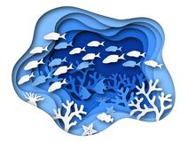 Free Underwater Sea Paper Cut. Ocean Bottom Reefs With Sea Animals, Corals And Fish, Seaweed. Blue Seabed Paper Origami Royalty Free Stock Image - 150688316