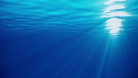 Underwater sea scene view with natural light rays, shining through the water`s glittering and moving surface, caustics