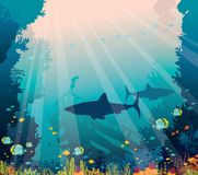 Underwater sea - sharks, coral reef and sunken ship. Underwater nature and marine wildlife. Silhouette of sharks, sunken ship, school of tropical fishes and royalty free illustration