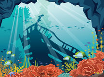 Underwater sea, sunken ship, corals, fish. Underwater cave with coral reef, school of fish and silhouette of sunken old ship on a blue sea. Vector illustration Stock Photo