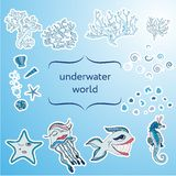 Underwater sea world stickers Stock Images