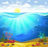 Underwater- Seabed with corals. Vectorial illustration of underwater - a seabed with corals and small fishes Royalty Free Stock Photo