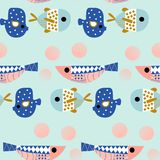 Underwater seamless pattern with colotful fish