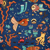 Underwater seamless pattern of elements on the tropic sea life. Stock Image