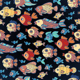 Underwater seamless pattern of elements on the tropic sea life. Stock Photography