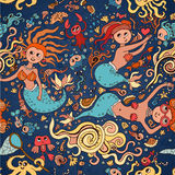 Underwater seamless pattern of elements on the tropic sea life. Stock Photos
