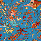 Underwater seamless pattern of elements on the tropic sea life. Stock Photo