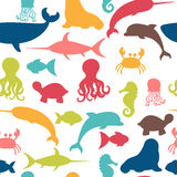 Underwater seamless pattern with fishes, octopus, crab, walrus Royalty Free Stock Photos