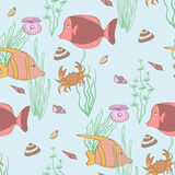 Underwater seamless pattern. With fishes and seashells Royalty Free Stock Image