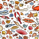 Underwater seamless pattern of sea life elements . Royalty Free Stock Photos