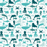 Underwater seamless pattern with silhouettes fishes, octopus, cr Royalty Free Stock Images