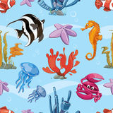 Underwater seamless vector background with sea Stock Photo