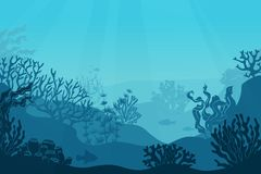 Underwater seascape. Seafloor, undersea with seaweed. Dark saltwater with corals silhouettes. Ocean reef bottom vector illustration