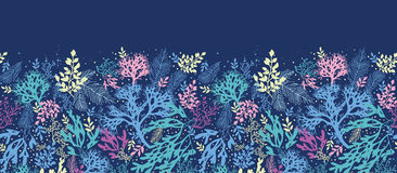 Underwater seaweed horizontal seamless pattern