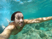 Underwater happy selfie  tropical sea Royalty Free Stock Image