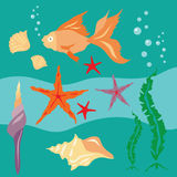 Underwater Set Flat Colorfull Illustration Stock Photography