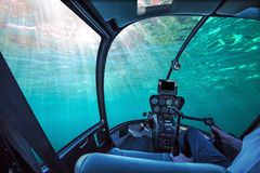 Underwater ship blue ocean Stock Photos