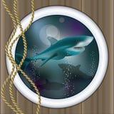 Underwater ship porthole background with shark Stock Photography
