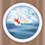 Underwater ship porthole wallpaper with yacht Royalty Free Stock Photos