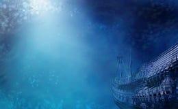 Underwater Shipwreck. Aquatic Marine Seascape with shipwreck Stock Photos