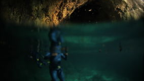 Underwater shoot of freediver stock video footage
