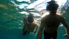 Young boy snorkeling with father on Bali, Indonesia. Underwater shoot of a young boy snorkeling and diving with father in a tropical sea in Nusa penida stock video