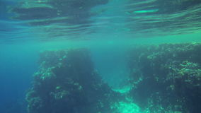 Underwater shot of deep blue sea stock video footage