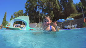 Underwater shot of little girl diving in a swimming pool. Slow motion Underwater shot of a little girl diving in a swimming pool stock video footage