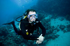 Underwater shot of scuba diver Royalty Free Stock Photography