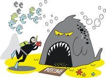 Underwater skindiver cartoon. Cartoon of skindiver taking underwater photograph of large fierce fish Royalty Free Stock Photos