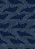 Underwater small fish overlapping kelp. Seamless pattern.Ocean life fabric design Stock Image