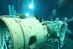 Underwater space simulator. STAR TOWN - FEBRUARY 4: Underwater space simulator in Cosmonaut Training Center named of Gagarin on February 4, 2012 in Star town stock photo