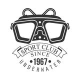 Underwater sport club since 1967 vintage logo. Black and white vector Illustration. For diver school or club emblem, elements for badge, print, tattoo, label Stock Image
