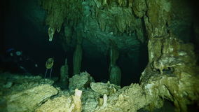 Underwater stalactites in Mexican cenote. Underwater stalactites and stalagmites in landscape Mexican Sacred Mayan Cenote. Deep underground clean and clear stock footage