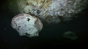 Underwater stalactites in Mexican cenote. stock video