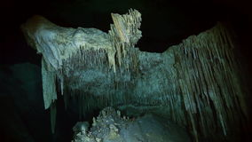 Underwater stalactites in Mexican cenote. Underwater stalactites and stalagmites in landscape Mexican Sacred Mayan Cenote. Deep underground clean and clear stock video